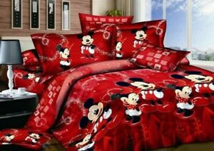 4pc Disney Mickey & Minnie Mouse Bed Spread Queen Size Quilt Cover Set