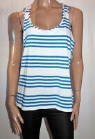 MIX Brand Blue White Varied Stripe Racer Tank Sportswear Top BNWT #TM56