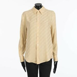 "CELINE 1290$ Blouse In Beige Silk "" Triomphe Chain"" Jacquard"