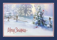 """Boxed Christmas Cards Snowy Scene Design, 5.5"""" x 8"""" 16 Cards & 17 White Envelope"""