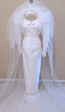 Vintage Victorian Gothic Wedding Dress Gown and Veil Size 2 Made in USA