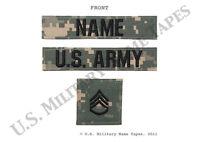 U.S. Army ACU Name Tape, Service Tape & Rank Patch Set w/Hook Fastener