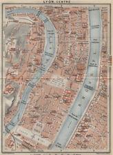 Lyon centre 1er 2e 5e 7e town city plan de la ville. rhône. lyon 1914 old map