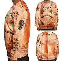 Men Christmas 3D Crew Neck Graphic Xmas Sweater Sweatshirt Pullover Jumper Tops