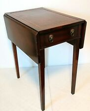 Antique DROP LEAF End/Side TABLE with LEATHER INLAY Top, One Drawer w/LION HAND