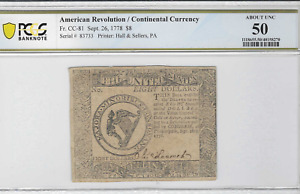 American Revolution / Continental Currency FR# CC-81 Sept. 26,1778 $8