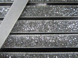 10 Meter Silber Borte Spitze Nichtelastisch Lurexband Glitzerband 1cm BB 251***
