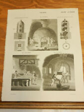 1817 Antique Print///GLASS BLOWING, CASTING, POLISHING