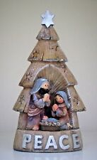 NATIVITY SCENE  CHRISTMAS TREE SMALL LED LIGHT 14CM TALL RUSTIC STYLE PEACE TEXT