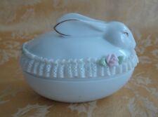 Otagiri White Porcelain Trinket Box ~ Easter Bunny Rabbit ~ Lace Pink Roses