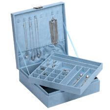 Jewelry Box Organizer Two-Layer Lint Jewelry Display Storage Case with Lock