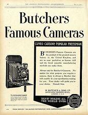 W. Butcher & Sons London Camera House Famous Kameras Historische Annonce 1920