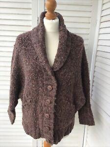PERUVIAN CONNECTION Size Medium Brown & Copper Cardigan Wooden Butt Pockets Wool