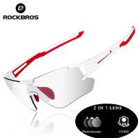 ROCKBROS Photochromic Cycling Sunglasses Sports Eyewear UV400 Goggles White Red