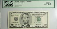 US $5 FEDERAL RESERVE STAR NOTE (2001) PCGS GEM NEW 65PPQ