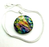 Hand Carved Stunning Mother of Pearl Pendant & 925 Sterling Silver Necklace