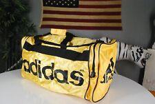 Vintage 90s Adidas SHINY GOLD Gym Duffle Bag LARGE Yellow Soccer BIG LOGO