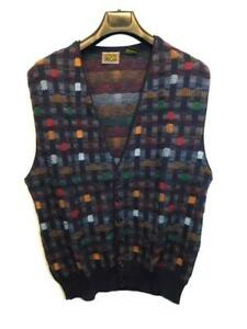 Vintage Paolo Conti XL Mens Dark Blue Brown Red Cardigan Sweater Vest V Neck