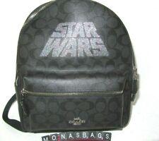 Coach X Star Wars Medium Black Smoke Leather Backpack F88015 Handbag NWT $428