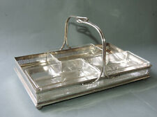 altes Metall Tablett/Menage Henkel u. Reling  versilbert 3 Glas Einsätze