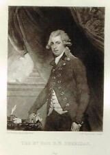 "Mezzotint Eng. Proof - ""RT HON. R.B. SHERIDAN"" - by Sir Joshua Reynolds - c1820"