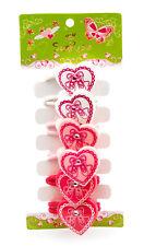 6 Paquet de coeur rose pour fille strass danse Elastiques à cheveux