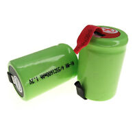3 pcs 1600mAh NiMH 4/5 SubC Sub C 1.2V Rechargeable Battery with Tab Green RC