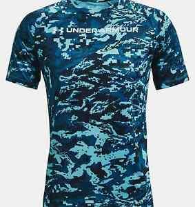 Under armour Men's T-Shirt XL loose fit Heatgear Camo Blue NWT
