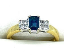 18ct Gold Sapphire/Diamond Engagement/Eternity Ring Size V RRP£1349 STUNNING