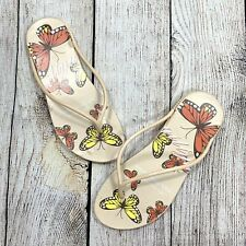 Sole Selection Size Small 5/6 Multicolored Butterfly Flip Flops Sandals