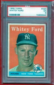 1958 TOPPS WHITEY FORD #320 PSA 5 EX HOF NEW YORK YANKEES VINTAGE BASEBALL CARD