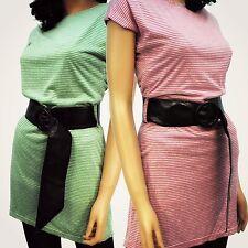 LADIES STRIPE STRETCH MINI DRESS TUNIC PINK GREEN W BLACK WET LOOK BELT 8 10 12