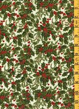 Quilting Sewing Cotton Fabric Michael Miller Holiday Mistletoe Berry Metallic