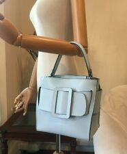 Designer Inspired Pale Blue Genuine Leather Buckle Satchel Shoulder Handbag