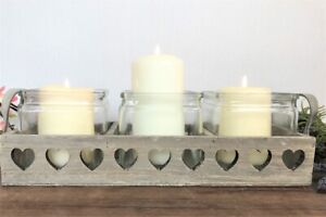Rustic Triple Wooden Hearts Candle Holder Tray Shabby Chic Vintage Country Style