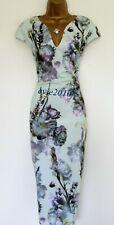 Excellent Ted Baker Midi Dress TB 4 (UK14) Bavaria Mint Green Purple Grey Linen