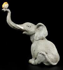Elefanten Figur - Rüsselfant mit Vogel - Witziges Geschenk Lustig Spaß Fun