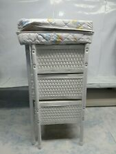 Vintage Doll Changing Table White Wicker with Padded Top