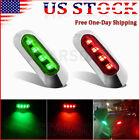 2x Red Green Led Boat Navigation Light Deck Spreader 12v Bow Pontoon Lights