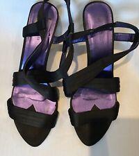 Hobbs Women Size 40 Black Strappy Sling Back Kitten Heel  Open Toe Sandal Shoes