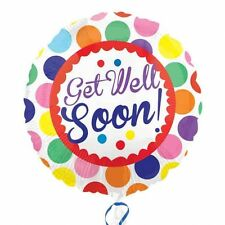 """GET WELL SOON 18"""" Round Dots Foil Helium BALLOON Feel Better Ill Unwell"""