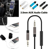 3.5mm Audio Cable Male to Male Stereo AUX Car Headphone Cord with Microphone