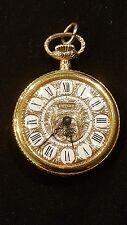 Vintage Pedre Ladies Enameled Face Pocket Watch Wind Up 17 Jewel Gold Filled