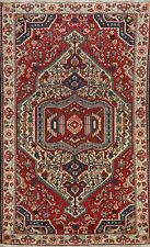 Antique Tribal Geometric Bakhtiari Area Rug Handmade Wool Oriental Carpet 5x7 ft