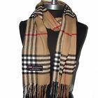New Fashion 100% Cashmere Scarf Camel Check Plaid Scotland Wool Wrap