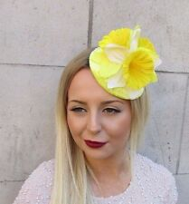 Yellow White Daffodil Flower Fascinator Headpiece Hair Clip Races Hat 50s 2556