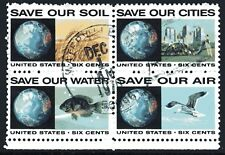 USA 1970 6c Prevention of Polution se-tenant block of 4 Used