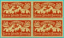 DANZIG 1923, 50 MARK ORANGE, AIR MAIL, MNH, BLOCK OF 4.