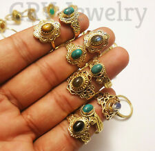 upto 100pcs Rings Wholesale Lots Mix Gemstones Brass Jewellery Gold Plated