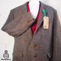 44R HARRIS TWEED Blazer Jacket Vintage Blue Brown Herringbone Wedding #363